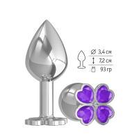 Средняя серебристая анальная втулка с клевером из фиолетовых кристаллов - 8,5 см.