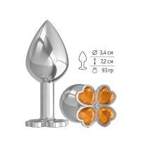 Средняя серебристая анальная втулка с клевером из оранжевых кристаллов - 8,5 см.