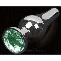 Серая анальная пробка с зеленым кристаллом - 12 см.