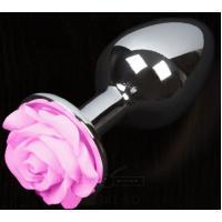Серая анальная пробка с розовой розочкой - 8,5 см.